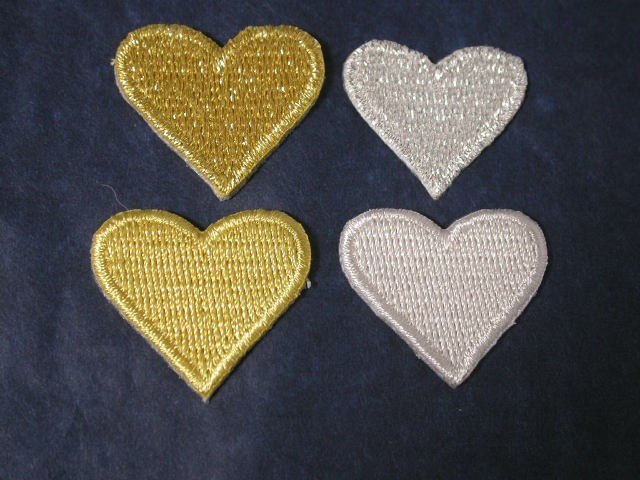 Silver metallic heart iron on appliques patches