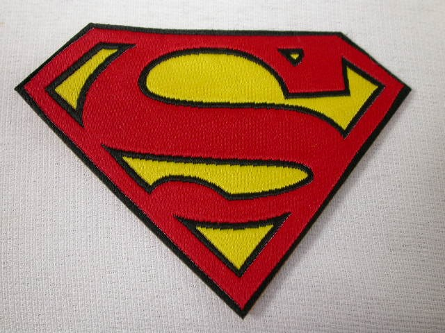 3.5 Inch Superman Logo Embossed Iron On Patch Applique